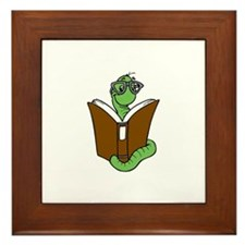 Cute The bookworm Framed Tile
