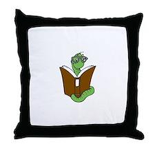 Cute Bookworm Throw Pillow