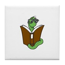 Cute Bookworm Tile Coaster