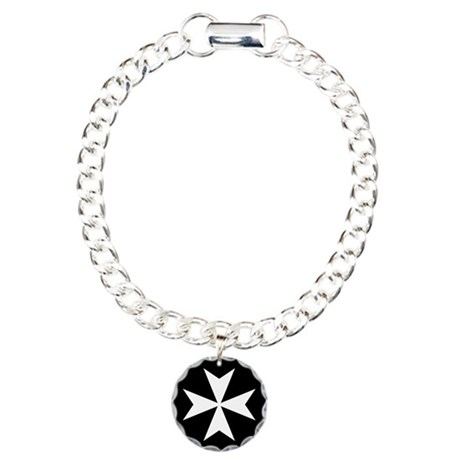 White Maltese Cross Charm Bracelet, One Charm