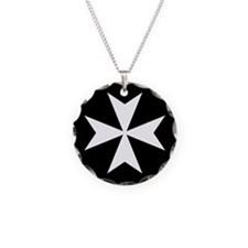 White Maltese Cross Necklace