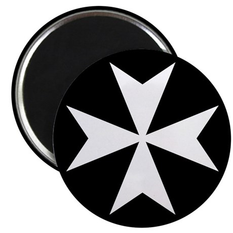 White Maltese Cross Magnet