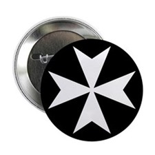 "White Maltese Cross 2.25"" Button"