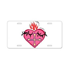 Flaming Heart Aluminum License Plate
