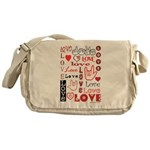 Love WordsHearts Messenger Bag