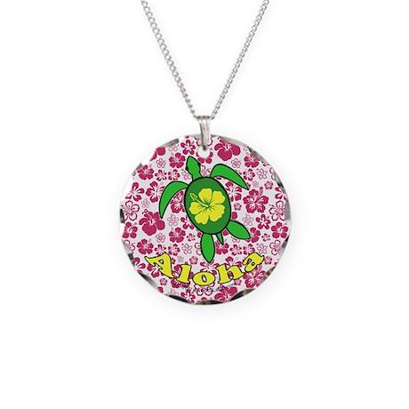 Aloha Hawaii Turtle Necklace Circle Charm