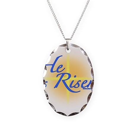 He is Risen Necklace Oval Charm