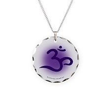 Purple OM Necklace Circle Charm