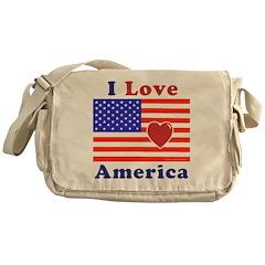 Heart America Flag Messenger Bag