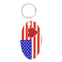 Heart Flag Keychains