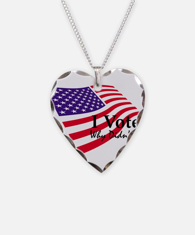 I Voted Flag Necklace Heart Charm