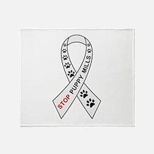 Stop Puppy Mills Ribbon Throw Blanket