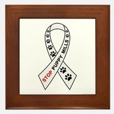 Stop Puppy Mills Ribbon Framed Tile