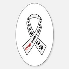 Stop Puppy Mills Ribbon Sticker (Oval)