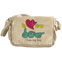I-L-Y My Dog Messenger Bag
