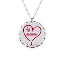 I Love Mom Necklace Circle Charm