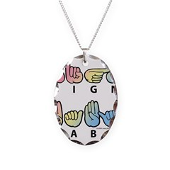 Captioned SIGN BABY SQ Necklace
