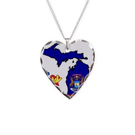 ILY Michigan Necklace Heart Charm