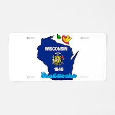 ILY Wisconsin Aluminum License Plate