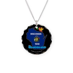 ILY Wisconsin Necklace Circle Charm