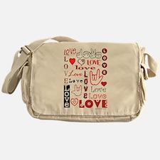 Love WordsHearts Messenger Bag