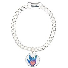 Blue/Pink Glass ILY Hand Bracelet