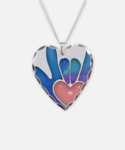 Blue/Pink Glass ILY Hand Necklace