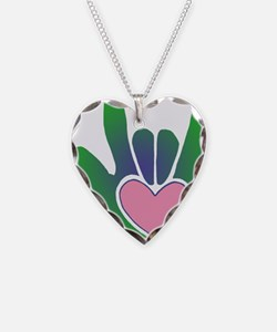 Green/Pink Heart ILY Hand Necklace
