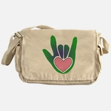 Green/Pink Heart ILY Hand Messenger Bag