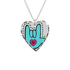 Aqua Bold I-Love-You Necklace