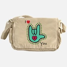 Aqua Bold I-Love-You Messenger Bag