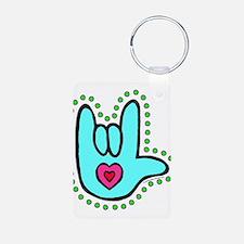 Aqua Bold Love Hand Keychains
