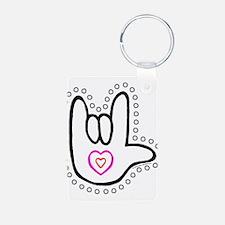 B/W Bold Love Hand Keychains