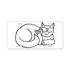 White ASL Kitty Aluminum License Plate