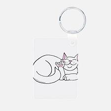 White ASL Kitty Keychains