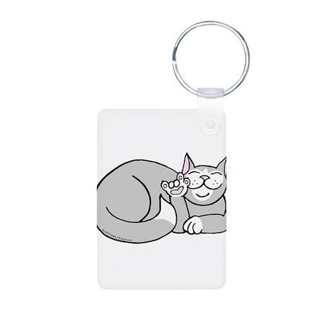 Tuxedo ASL Kitty Aluminum Photo Keychain