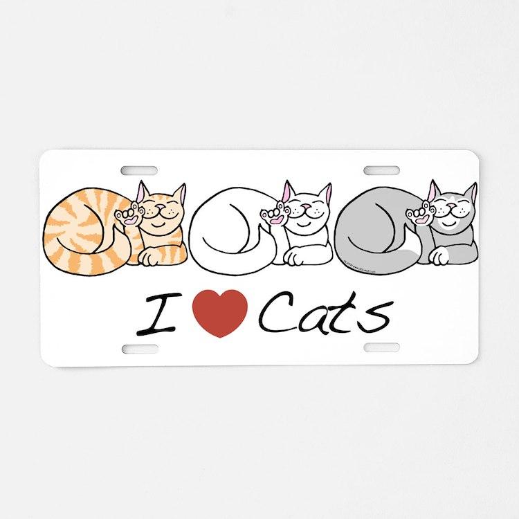 I Heart Cats Aluminum License Plate