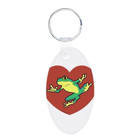 ASL Frog in Heart Aluminum Oval Keychain