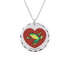 ASL Frog in Heart Necklace