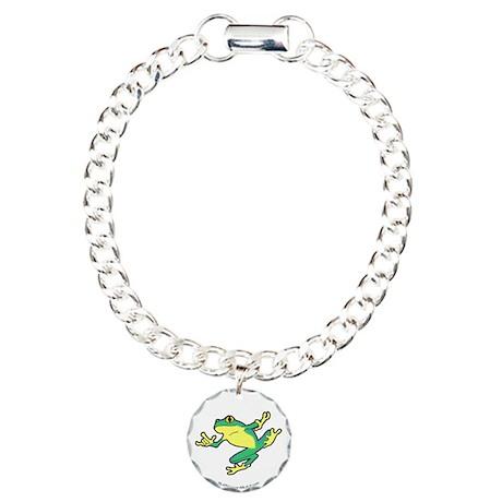 ASL Frog in Flight Charm Bracelet, One Charm