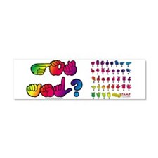 Got ASL? Rainbow SQ Car Magnet 10 x 3