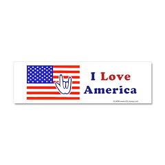 ILY America Flag Car Magnet 10 x 3