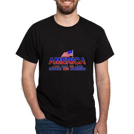 Hispanic Secure Our Borders Black T-Shirt