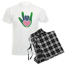 Green/Pink Heart ILY Hand pajamas