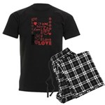Love WordsHearts Men's Dark Pajamas