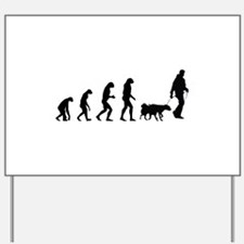 Evolution walking the dog Yard Sign