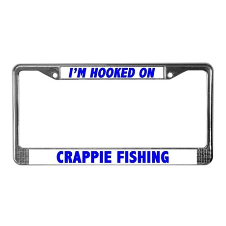 I 39 m hooked on crappie fishing license plate frame by cafepets for Fishing license plate