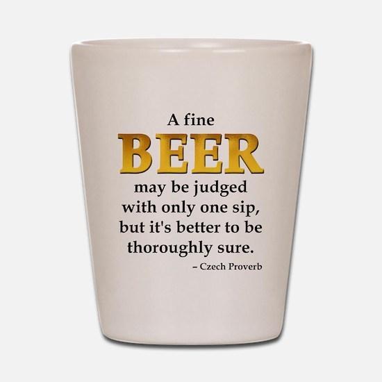 Czech Beer Proverb Shot Glass