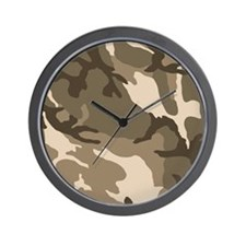 Tan Camouflage Pattern Wall Clock