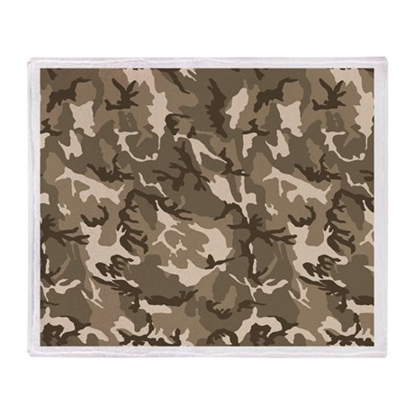 Tan Camouflage Pattern Throw Blanket